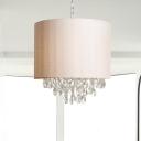Faceted Crystal Cylinder Hanging Chandelier Modern 3/4 Lights Beige Ceiling Lamp for Bedroom