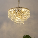 5 Bulbs Circular Pendant Lamp Vintage Gold Beveled K9 Crystal Chandelier Light Fixture