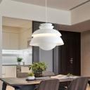 White Wide Flare Pendant Light Modernism 1 Head Metal Suspended Lighting Fixture
