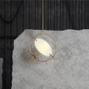 Minimalism Circular Ceiling Lighting Metal 1 Head Hanging Pendant Light in Gold for Living Room