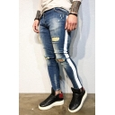 Guys Casual Side Stripe Washed-Denim Shredded Ripped Skinny Fit Jeans