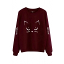 Lovely Cartoon Cat Face Pattern MEOW Letter Printed Long Sleeve Relaxed Pullover Sweatshirt