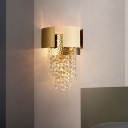 Gold Cascade Wall Light Vintage Beveled Glass Crystal Living Room 2 Bulbs LED Wall Sconce Lighting