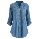 Fashion Women's Roll Up Sleeve Stand Collar Button Down Lace Patched Ruched Relaxed Plain Blouse