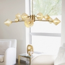 Pyramid Pendant Chandelier Modern Amber Prismatic Glass 12 Heads Living Room Hanging Light Fixture