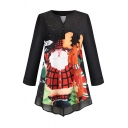 Fashion Fancy Women's Long Sleeve V-Neck Button Front Santa Claus Reindeer Printed Loose Christmas Tee in Black