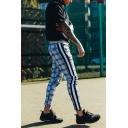Mens Leisure Contrast Stripe Plaid Printed Drawstring Waist Skinny Fit Fashion Pants