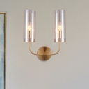 Curved Arm Wall Lighting Modernist Metal 2 Bulbs Brass Sconce Light Fixture with Cognac Glass Shade