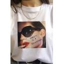 Cool Girl Letter Printed Short Sleeves Round Neck White Summer T-Shirt