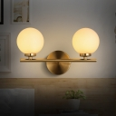 White Glass Spherical Wall Lighting Contemporary 2 Heads Sconce Light Fixture in Gold