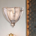 Crystal Block Curvy Wall Sconce Modernist 1 Head Antique Silver LED Wall Lighting Fixture