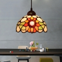 1 Light Flower Pendant Lighting Fixture Victorian Beige/Red/Pink Stained Glass Drop Lamp for Dining Room