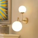 Gold Armed Wall Lighting Contemporary 2 Bulbs Metal Sconce Light Fixture with Opal Glass Shade