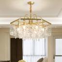 Square Living Room Chandelier Light Traditional Crystal 4/6/8 Lights Gold Suspension Lighting Fixture