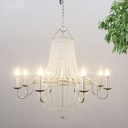 Silver 6 Lights Chandelier Light Fixture Countryside Crystal Candlestick Ceiling Hang Fixture