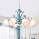 8 Bulbs Flower Pendant Light Traditional Blue Frosted Glass Chandelier Lamp for Bedroom
