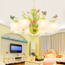 Milk Glass Bloom Chandelier Lamp Traditional 8 Heads Living Room Pendant Light Fixture in Green with Butterfly Decor