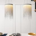 LED Circular Chandelier Lighting Rustic White Metal Hanging Pendant Light for Dining Room
