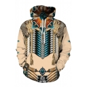 Tribal Style Totem 3D Pattern Long Sleeve Relaxed Fit Vintage Drawstring Hoodie