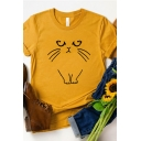 Popular Cartoon Cat Pattern Short Sleeve Crewneck Leisure T-Shirt