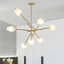 Sputnik Chandelier Light Contemporary Metal 7 Heads Pendant Lighting Fixture in Gold