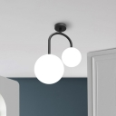 Milk Glass Spherical Semi Flush Contemporary 2 Heads Close to Ceiling Lamp in Black for Bedroom