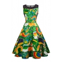 Ladies' Formal Sleeveless Crew Neck Zipper Back All Over Print Fishnet Patched Midi Pleated Flared Dress in Green