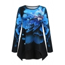 Fashion Women's Long Sleeve Crew Neck Floral Printed Asymmetric Hem Relaxed T-Shirt in Blue