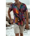 Colorful Tribal Geometric Pattern Patchwork Short Sleeve Button-Up Holiday Shirt