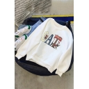 Casual Simple Girls' Long Sleeve Crew Neck Letter CAT Graphic Relaxed Fit Pullover Sweatshirt