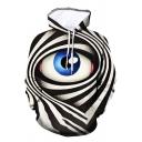 New Trendy Black and White Stripe and Eye 3D Printed Long Sleeve Leisure Hoodie