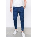 Men's Simple Plain Drawstring Waist Ankle Banded Pants Skinny Jeans with Pocket