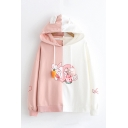 Lovely Rabbit Print Carrot Paw Drawstring Hood Long Sleeves Baggy Colorblock Hoodie