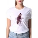 Fancy Cartoon Bear and Bike Pattern Short Sleeves Crewneck White T-Shirt