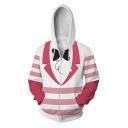 Stylish Comic Anime Cosplay False Clothing Suit 3D Print Long Sleeves Zip-Up Hoodie