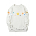Unisex Chic Universe Planet Printed Long Sleeves Round Neck Oversized Sweatshirt