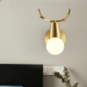1/2/3-Head Sphere Vanity Lighting Fixture Traditional Brass Metal Sconce Light for Bathroom