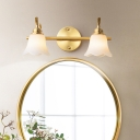 Brass Floral Vanity Light Fixture Traditionalism Metal 2/3 Bulbs LED Bathroom Wall Mounted Lamp