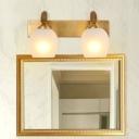 Dome Bathroom Wall Vanity Light Modernism Metal 2/3 Heads Brass Wall Lamp Fixture
