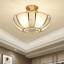 Metal Bowl Ceiling Light Fixture Traditional 3 Bulbs Living Room Semi Flush Mount Lighting in Gold