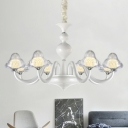 Clear Glass Triangle Chandelier Lighting Modernist Style 6/8 Lights White Finish Hanging Lamp for Dining Room