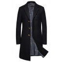 Mens Cool Solid Color Long Sleeve Notched Lapel Longline Wool Coat with Pocket