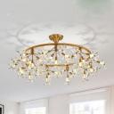 Floral Hanging Chandelier Modernist Crystal 20/30 Bulbs Brass Pendant Light Fixture, 23.5