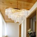 Modernist Spiral Ceiling Chandelier Crystal Rectangle 10 Bulbs LED Dining Room Pendant Light Fixture in Gold