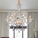 Brass Candelabra Chandelier Light Modernism 10 Heads Beveled Glass Crystal Pendant Lighting for Bedroom