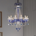 Faceted Crystal Candle Hanging Chandelier Modern 12 Lights Blue Ceiling Lamp for Dining Room