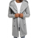 Mens Leisure Gray Long Sleeve Double Breasted Slim Fit Tunic Hooded Jacket Coat