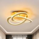 Spiral Acrylic Ceiling Lamp Modern White/Gold LED Semi Flush Mount Light Fixture in Warm/White Light, 21.5