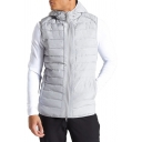 Mens Sport Fashion Plain Sleeveless Zip Up Slim Fit Hooded Vest Quilted Waistcoat