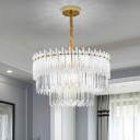 Clear Crystal Block 3 Tiers Hanging Light Kit Simple 12 Heads Gold Chandelier Light Fixture
